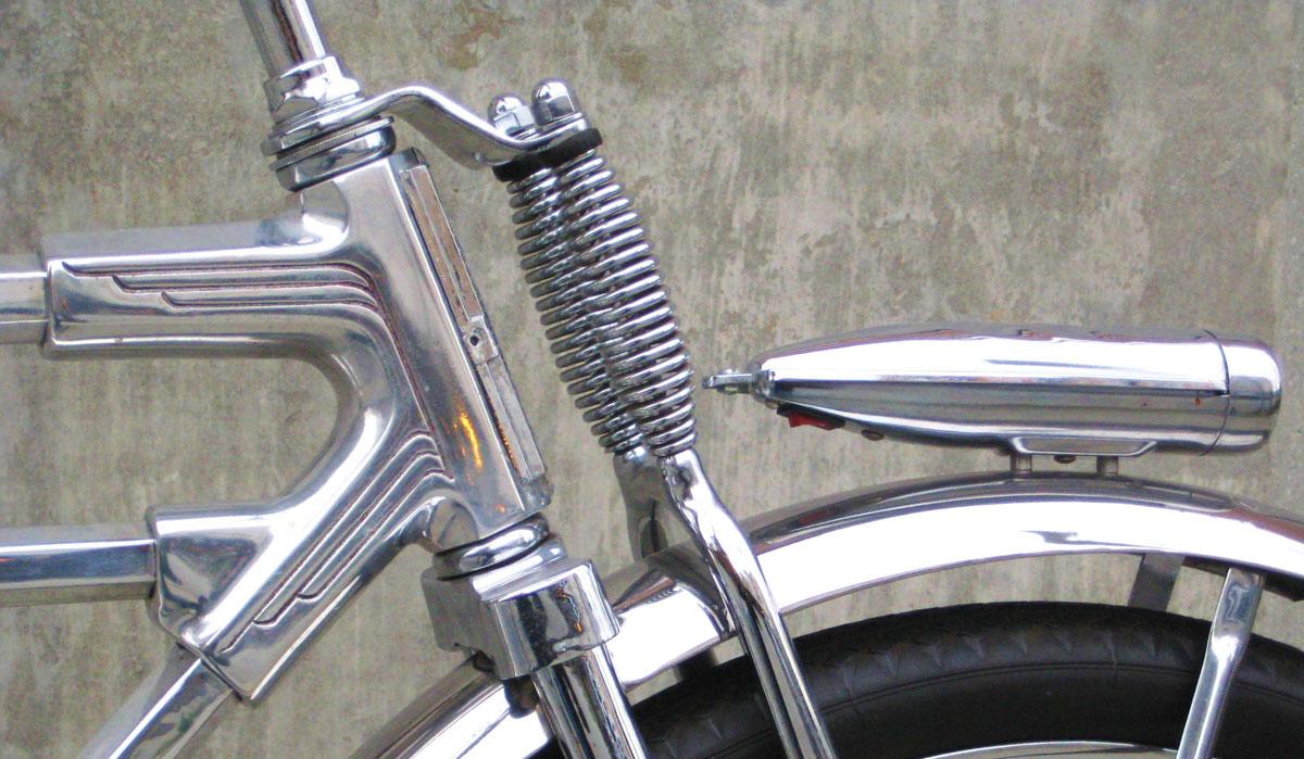 Vintage Monark Dual Springer Bicycle Bike Suspension Fork Disc Break Setup.